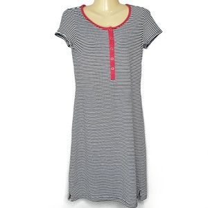 Lands' End Navy & White Striped Dress